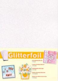Wit, enkelvoudige zelfklevende glitterfolie