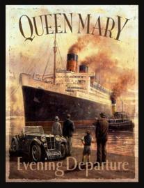 Wandbord metaal Stoomschip Queen Mary
