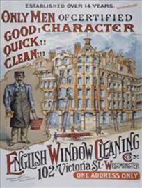 Wandbord metaal Engelse glazenwasser