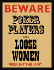 Wandbord metaal Poker players tekst