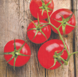 Tomatoes on wood, servet
