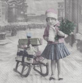 Girl with sledge, servet