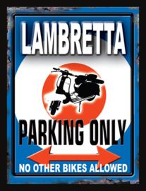 Wandbord metaal Lambretta Parking Only