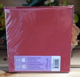 Vierkante kaart & Envelop, donker rood