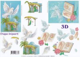 Duiven & Kerststal, 3D Knipvel Le Suh