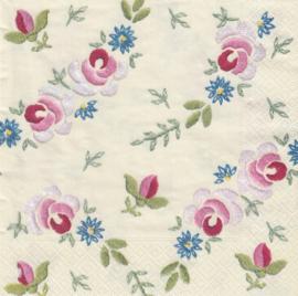 Geborduurde bloemen, XL servet