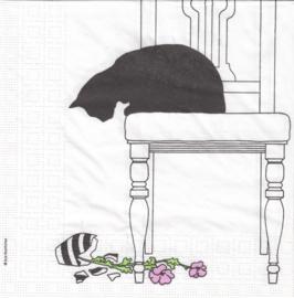 Black Cat on Chair, servet