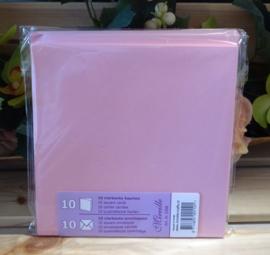 Vierkante kaart & Envelop, roze