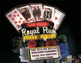 Wandbord metaal Las Vegas Royal Flush