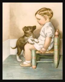 Wandbord metaal Peuter met hond