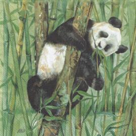 Panda met jong, servet