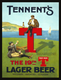Wandbord metaal Tennent's lager beer
