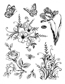 Flowers and Butterflies, Clear stamp