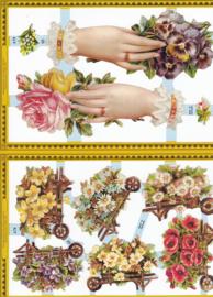Handen met bloemen, poëzieplaatje Golden serie