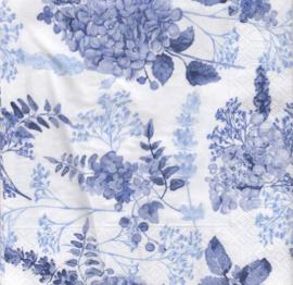 Blauwe bloemen, servet