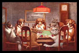 Wandbord metaal Dogs playing Poker