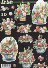 Kerststukje in mand, 3D knipvel Le Suh