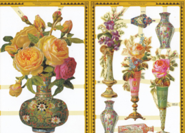 Vaas met rozen, poëzieplaatje Golden serie