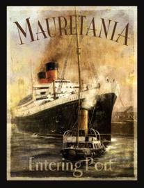 Wandbord metaal Stoomschip Mauretania