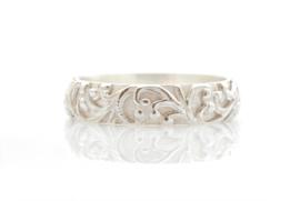 'Floral' zilveren ring