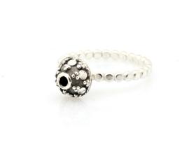 Zilveren geoxideerd lace ring