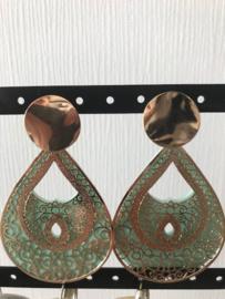 Oorbellen goud/mintgroen