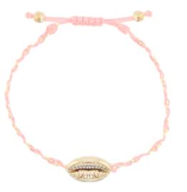Armbandje roze met schelp