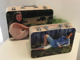 Houten koffer met foto