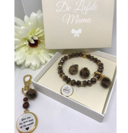 Luxe set sparkle Armband, sleutelhanger en oorbellen