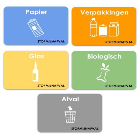 Stickers afval scheiden (set 5 x A5)