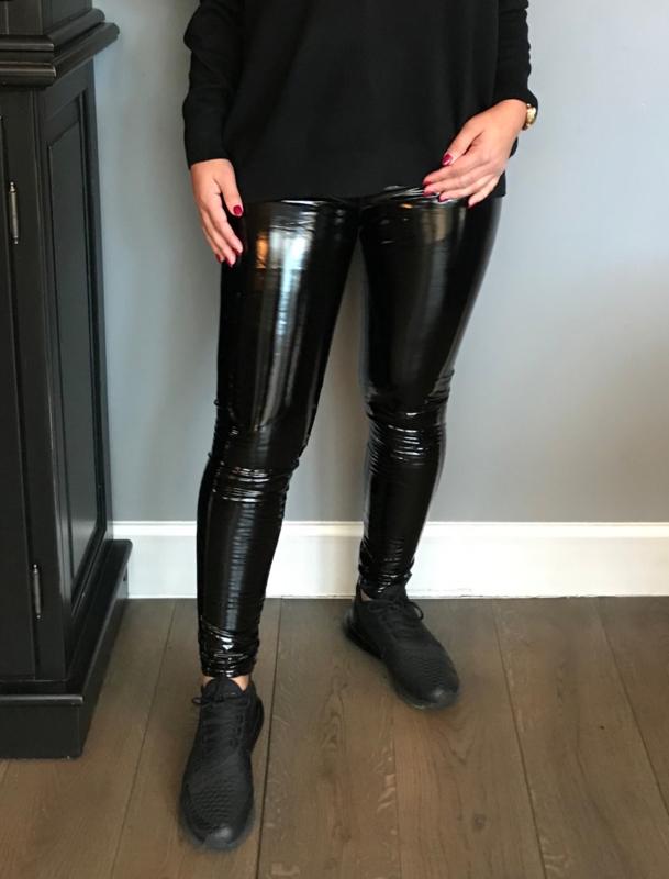Verwonderlijk Lak legging met zilveren rits (S M L: S) | ♥️Broeken/Jeans BD-18