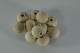 Blanke houten kraal beuken, naturel 12mm