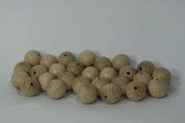 Blanke houten kraal beuken, naturel 2 cm