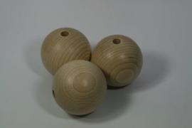 Blanke houten kraal beuken, naturel 6cm