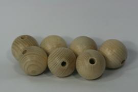 Blanke houten kraal beuken, naturel 4cm