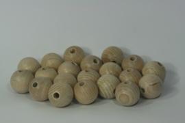 Blanke houten kraal beuken, naturel 2,5 cm