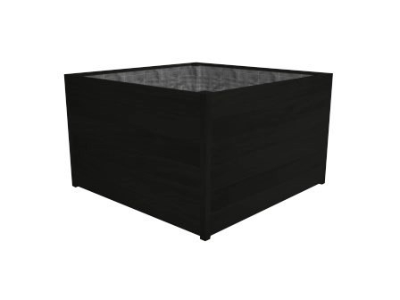 Hardhouten plantenbak 'Lugano' Black Edition L80xB80xH74 cm