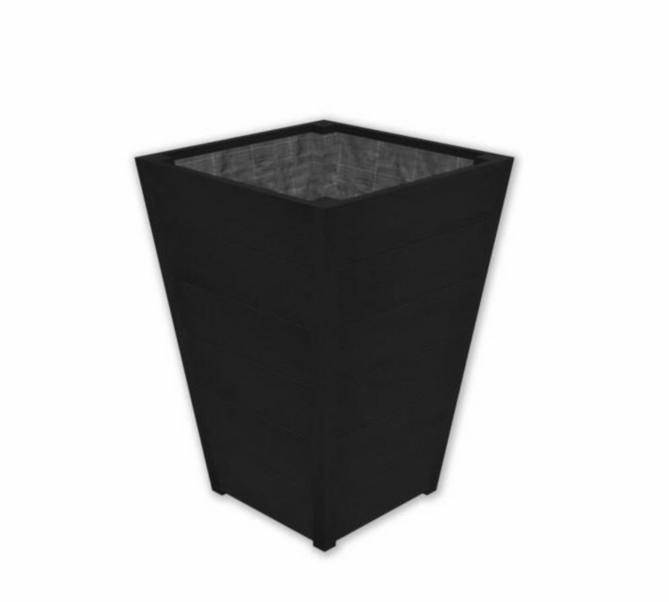 Hardhouten plantenbak 'Pula' Black Edition L60xB60xH86 cm