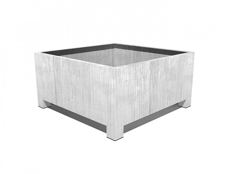 Verzinkt staal plantenbak vierkant 'Savona'  L100xB100xH40 cm