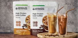 High Proteine Iced Coffee met 15 gram proteine, 80 mg cafeine en maar 80 kcal. 14 porties