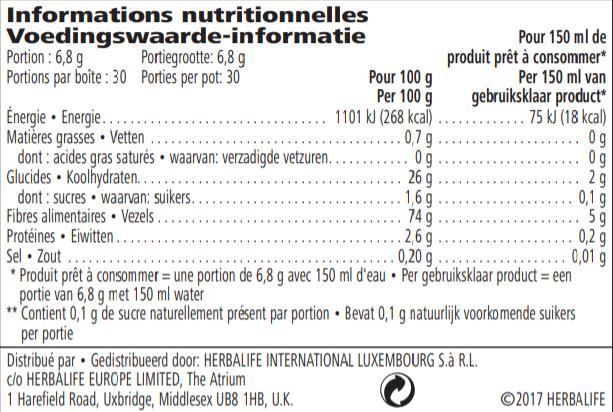 Voedingswaarde info Herbalife Multivezel drank delicate appelsmaak