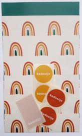 Stickers - kadootje - mauve - per 10 stuks