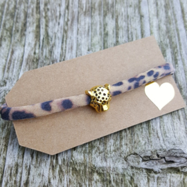 Armbandje - IBIZA - panter bruin - kraal goud