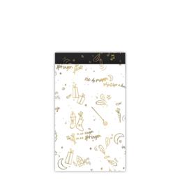 Kadozakjes - Sint - Sing along '21 - wit/goud - 12x19 - per 5 stuks
