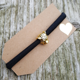 Armbandje - IBIZA - zwart - kraal goud