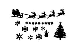 Raamstickers - aanvulling Kerst herbruikbaar - klein - wit
