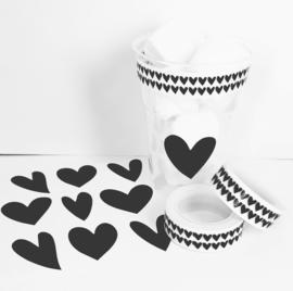 Stickervel - hartje assorti - zwart 12 stuks