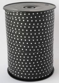 Lint - krullint mini stip zwart/wit 10mm - 3m