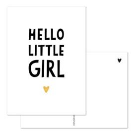 Kaart - Hello little girl - goudfolie
