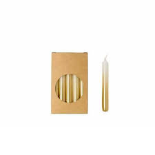 Kaars - potlood kort - wit / goud - per stuk